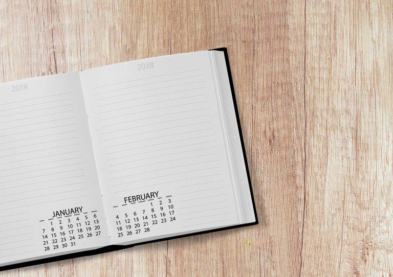 calendar, book, 2018